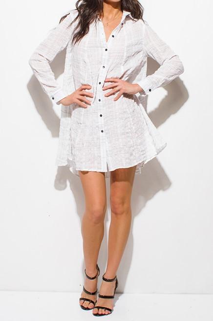 White Beach Cover Up Tunic Top Mini Dress Des Beaux
