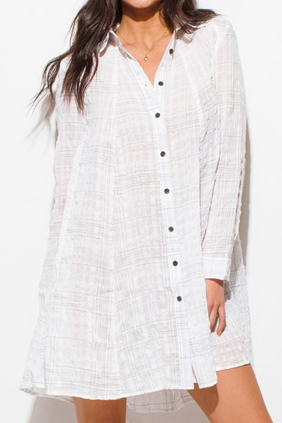 1be0a8c7a4 White Beach Cover Up Tunic Top Mini Dress - Des-Beaux