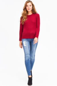 WINE BURGUNDY RED KNIT ROUND NECK LONG SLEEVE SWEATER TOP 932f2d2f7