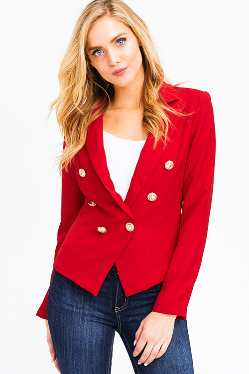 RED DOUBLE BREASTED LONG SLEEVE GOLDEN BUTTON BLAZER - Des-Beaux 09c3cca97